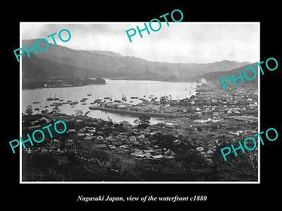 OLD LARGE HISTORIC PHOTO OF NAGASAKI JAPAN, VIEW OF THE WATERFRONT c1880