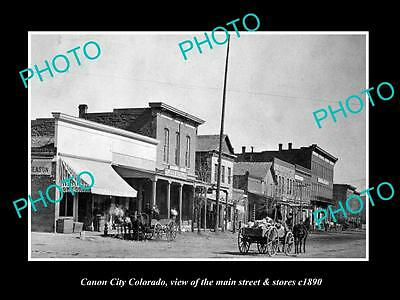 OLD LARGE HISTORIC PHOTO OF CANON CITY COLORADO, THE MAIN STREET & STORES c1890