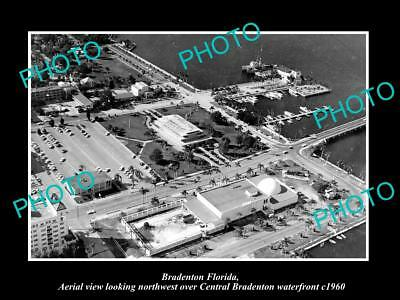 OLD LARGE HISTORIC PHOTO OF BRADENTON FLORIDA, AERIAL VIEW OF WATERFRONT c1960 1