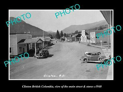 OLD LARGE HISTORIC PHOTO OF CLINTON BRITISH COLUMBIA, THE MAIN St & STORES c1940