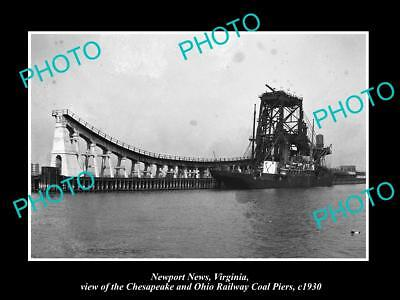 OLD LARGE HISTORIC PHOTO OF NEWPORT NEWS VIRGINIA, THE RAILROAD COAL PIERS c1930