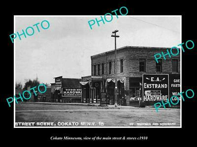 OLD LARGE HISTORIC PHOTO OF COKATO MINNESOTA, THE MAIN ST & STORES c1910