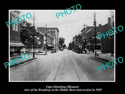 Old Large Historic Photo Of Cape Girardeau Missouri, The Broadway & Stores 1929