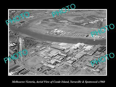 Old Large Historic Photo Of Melbourne Vic, Aerial View Spotswood Yarraville 1960