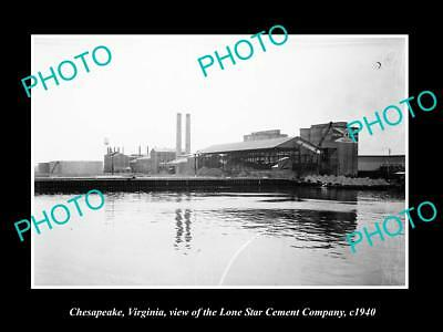 OLD LARGE HISTORIC PHOTO OF CHESAPEAKE VIRGINIA, THE LONE STAR CEMENT CO c1940