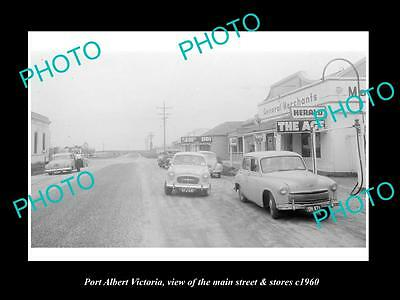 OLD LARGE HISTORIC PHOTO OF PORT ALBERT VICTORIA, THE MAIN St & STORES c1960