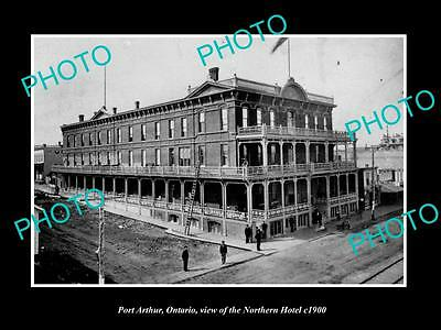 OLD LARGE HISTORIC PHOTO OF PORT ARTHUR ONTARIO, VIEW OF NORTHERN HOTEL c1900