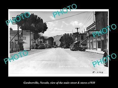 OLD LARGE HISTORIC PHOTO OF GARDNERVILLE NEVADA, THE MAIN St & STORES c1930