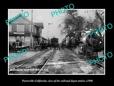 OLD LARGE HISTORIC PHOTO OF PORTERVILLE CALIFORNIA, THE RAILROAD STATION c1900