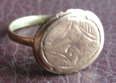 Ancient Artifact > Medieval Bronze Finger Ring SZ: 8 3/4 US 18.75mm 14783 DR
