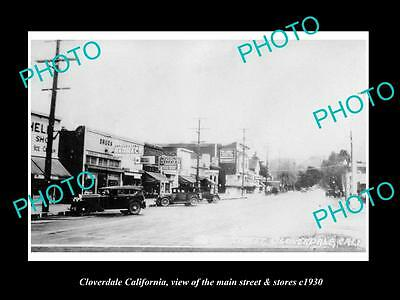Old Large Historic Photo Of Cloverdale California, The Main Street & Stores 1930