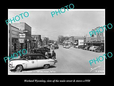 OLD LARGE HISTORIC PHOTO OF WORLAND WYOMING, THE MAIN STREET & STORES c1950