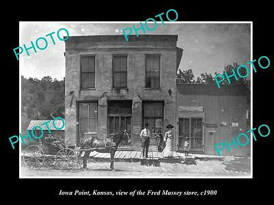 OLD LARGE HISTORIC PHOTO OF IOWA POINT KANSAS, THE FRED MASSEY STORE c1900