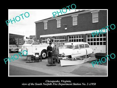 OLD HISTORIC PHOTO OF CHESAPEAKE VIRGINIA, THE SOUTH NORFOLK FIRE STATION c1950