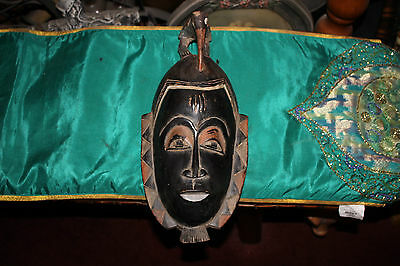 Antique African Tribal Face Mask-Bird Pecking On Head-Detailed Wood Carved Mask