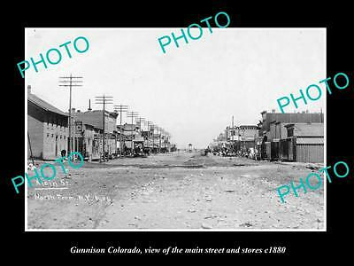 OLD LARGE HISTORIC PHOTO OF GUNNISON COLORADO, THE MAIN STREET & STORES c1880