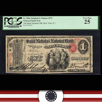 Original Charter 1865 $1 SAINT NICHOLAS National Bank New York, NY  PCGS 25