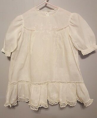 Antique Ivory Baby Doll Dress ~ Christening Gown ~ Eyelet Lace