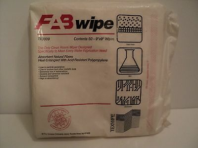 """Texwipe Fab Wipes TX3009 Clean Room 50 Count 9"""" x 9"""" Wipes NEW Sealed Package"""