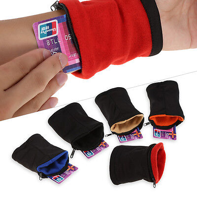 Outdoor Sport Wrist Sweat Bands Wallet Pouch Key Card Storage Arm Bag W/ Zipper