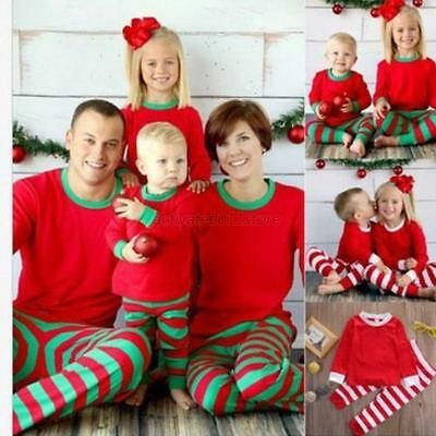 Family Christmas Matching Adult Baby Kid Pajamas Set Striped Sleepwear Nightwear