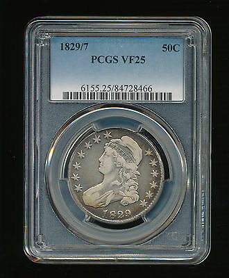 1829/7 Capped Bust Silver Half PCGS VF 25 Type 1, Lettered Edge 1829 Over 1827