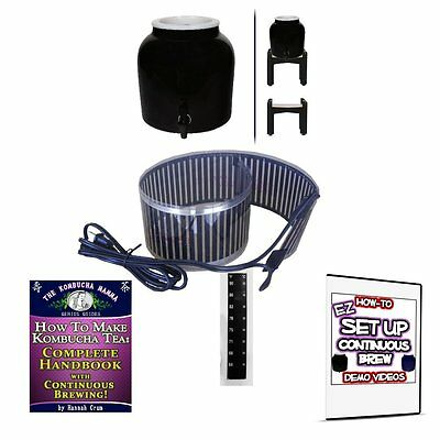 Continuous Brew Kombucha BREWER ONLY - Black w/ Stand + Essential Heat Strip