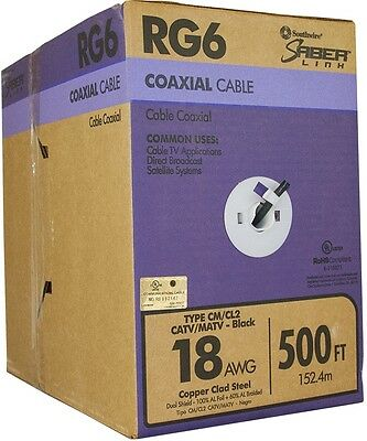 Southwire 500-ft 18-AWG RG6 Black Coax Cable