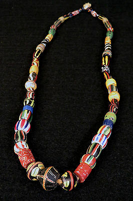 52 HUDSON BAY LEWIS & CLARK VENETIAN FUR TRADE BEADS 1700's Necklace CHEVRON 30""