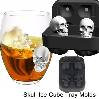 Silicone 3D Skull Ice Cube Mold Cocktails Whisky Ice Mould Tray Party Cocktail