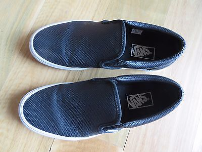 Vans Classic Black Leather Mens Size 8 Womens 9.5 Slip On Shoes New