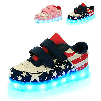 Kids Boys Girls LED Light Up Sneakers USB Charger Shoes Trainers Luminous