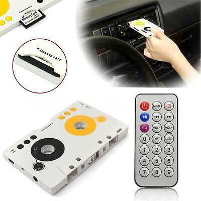6PCS Vintage Car Tape Cassette SD MP3 Player Adapter Kit With Remote Control EU