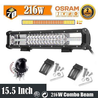 16inch 216W 21600LM Led Work Light Bar Spot Flood Offroad Driving Lamp Truck 4WD