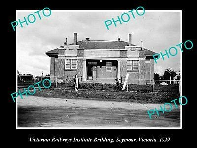 OLD LARGE HISTORIC PHOTO OF SEYMOUR VIC, THE VICTORIAN RAILWAYS INSTITUTE c1929