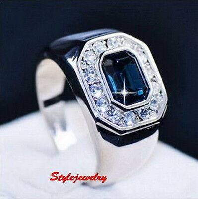 Blue Sapphire Men's Ring Made With Swarovski Crystal ring 18k White Gold Plated
