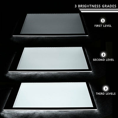 A4DC LED Thin Stencil Drawing Display Board Light Box Table 3 Gear Dimming