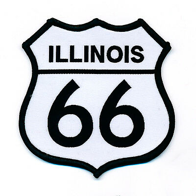 68 x 68 mm Route 66 Illinois USA Mother Road Patch Aufnäher Aufbügler 0757 B