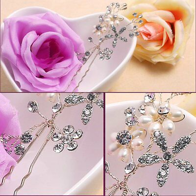 Crystal Rhinestone Pearl Flower Hairpin Hair Clips Comb Wedding Bridal Jewelry