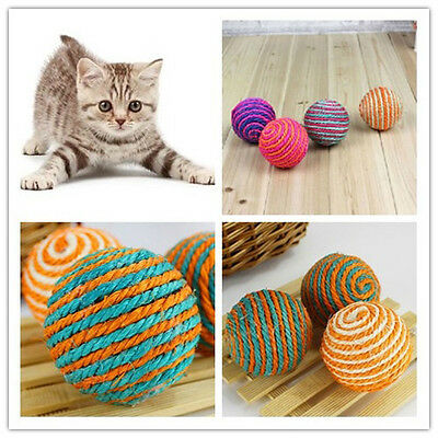 1x Funny Cat Kitten Sisal Rope Weave Ball Play Rattle Scratch Catch Toy