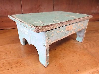 Lovely Original Victorian Country Pine Step, Stool With Original Baby Blue Paint