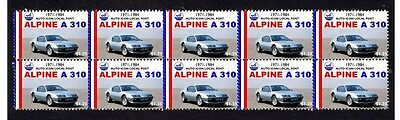 Alpine A310 Auto Icons Strip Of 10 Mint Car Stamps 1