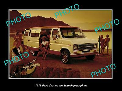Old Large Historic Photo Of 1978 Ford Custom Van Launch Press Photo