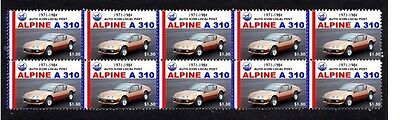 Alpine A310 Auto Icons Strip Of 10 Mint Car Stamps 3