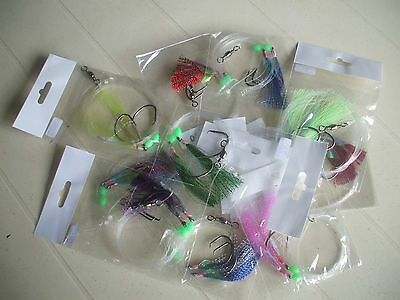 10 Sets Of 2 Hook Flasher Rigs In Assorted Colours And Sizes