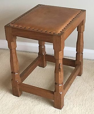 Mouseman Oak Stool with Leather Seat
