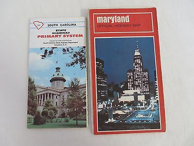 Vtg Road Maps Official State Issue Mixed Lot of 7 SC AL VA FL ME MD  #4907