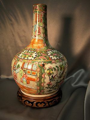 Early Fine Antique Chinese Famille Rose Porcelain Hand Painted Gourd Vase