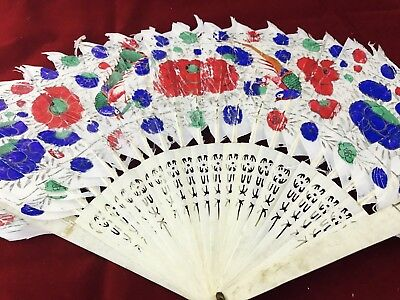 Antique Chinese Hand Carved Bovine Bone Hand Fan Painted Feather (both sides)