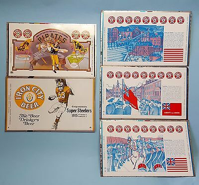 5 Iron City Beer Pittsburgh Brewing unrolled flat cans.  Steelers & Pirates.